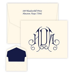 Victoria Monogram Note - Raised Ink