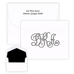 Antique Monogram Note - Raised Ink