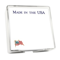 America Memo Square - White with holder